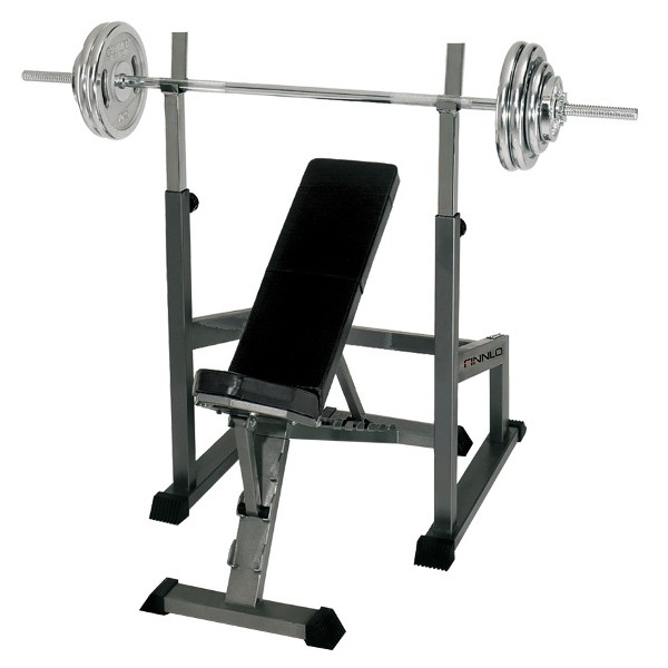 Finnlo banc incliné  + station d'haltère long + haltère long de 75 kg