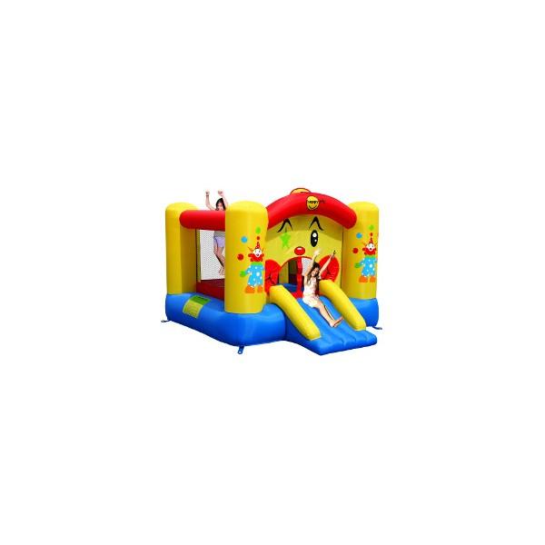 Château gonflable avec motif clown et toboggan HappyHop