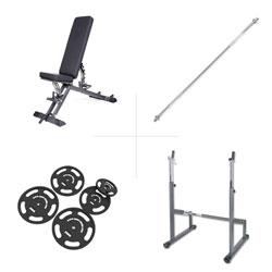 Taurus weight bench B900 + barbell rack + 75 kg set