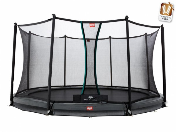 Berg Gartentrampolin InGround Champion Grey inkl. Sicherheitsnetz Comfort