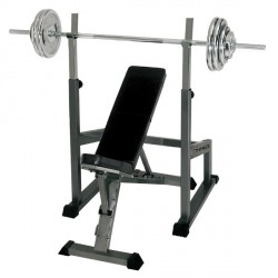 Finnlo incline bench + barbell station + 75 kg barbell Detailbild