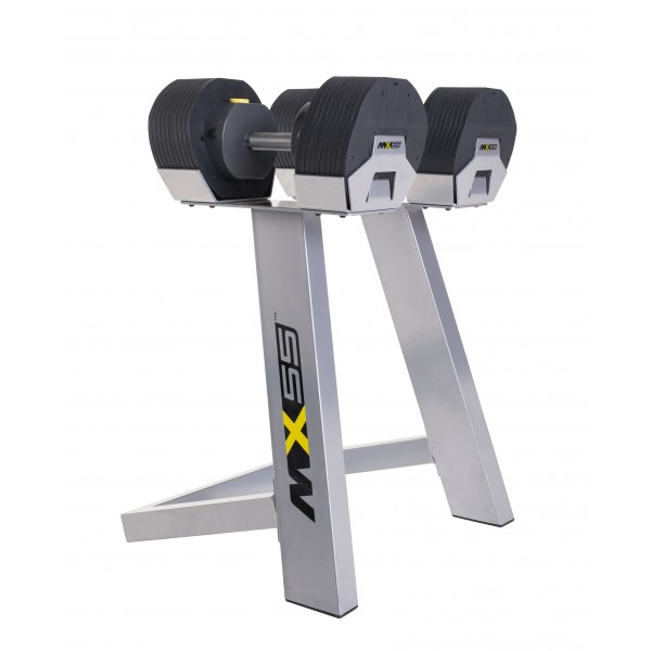 MX55 dumbbells 4.5 to 24.9 kg with rack
