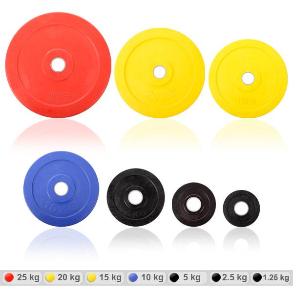 Disques d'haltères de 50 mm recouverts de caoutchouc