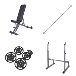 Taurus weight bench B900 + barbell rack + 75 kg set