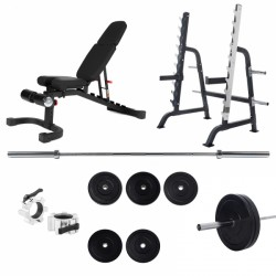 Taurus Squat Rack Pro Set with Weight Bench B990 purchase online now