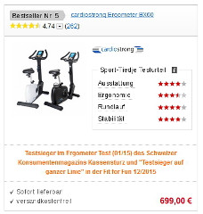 An example of the Fitshop exercise bike test rating